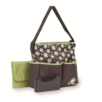 Deluxe Monkey Tote Diaper Bag with Wipes Case